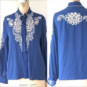 Bob Mackie Blue Embroidered Silk Blouse  Size S